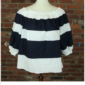 Crown and Ivy Blue&White Stripe off the shoulder